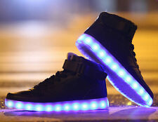 Hot Mens LED Light 8 Color High-top Lace Up Round Toe Casual Travel Shoes Size