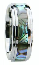 8MM/6MM Tungsten Carbide Rings with Abalone Shell Inlay for Men Comfort Fit NEW