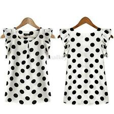 Fashion Women Soft Chiffon Short Sleeve Shirt Dots Print Blouse Casual Top  T63