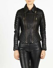 New Leather Jacket for Women's Motorcycle Black Biker Coat All Size XS-XL WJ155