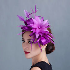 Women wedding party fascinators hat with clip handmade feather flower headband