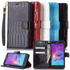 Folio Flip Glossy Crocodile Skin PU Leather Wallet Stand Case For Samsung Galaxy