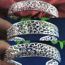Charming silver Hollow out tracery Thick Charm Cuff Bracelet bangle