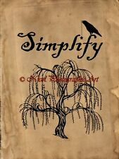"Americana Rustic ""Simplify"" Prim Crow Country Home Decor Art Matted Picture A749"
