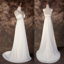 Maternity Long Beaded Formal Evening Gown Wedding Prom BRIDAL Bridesmaid Dresses