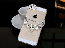 Bling Luxury Crystal Diamond Case Droplets phone shell With Necklace For iPhone