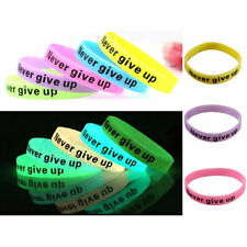 GLOW IN DARK Silicone Rubber Sport Elasticity Wristband Cuff Bracelet Bangle 1PC