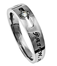 Faith Hope Love Ring 1 Corinthians 13:13, Stainless Steel, Christian Bible Verse