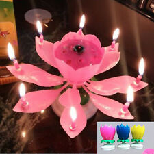 Amazing Romantic Musical Lotus Rotating Happy Birthday Party Cake Candle