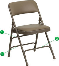 Pro-Tough Metal Folding Chair with Triple Brace Support & Vinyl Padded Seat