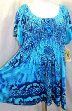 ONE WORLD LIVE AND LET LIVE WOMEN PLUS 1X 2X 3X TURQUOISE BLUE TUNIC TOP BLOUSE