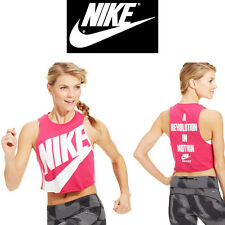 Nike Women Track Field Cropped Graphic Sleeveless Tank Top Fireberry/W Small/Med