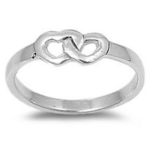 Interlocking Heart Ring, Sterling Silver, Cute Twin Love Gift, Free Jewelry Box
