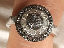 0.84++ ct BLACK & WHITE RAW NATURAT DIAMOND .925 SILVER RING SIZE 7 SEE VIDEO