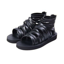 Men's Runway Gladiator Roman strap zipper synthetic Leather Ankle Boots Sandals