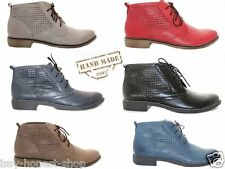 New Handmade Womens Issy Ladies Genuine Leather Lace Up Ankle Shoes Boots Size