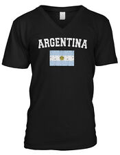Argentina Faded Distressed Flag Argentinian Country Pride Mens V-neck T-shirt