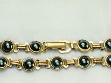 Hematite stone genuine 14k gold filled 6mm wide 7 or 8 inches long bracelet