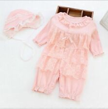 Toddler Baby Infant Girl One-Piece Clothes Outfit Newborn Cotton Lace Romper+Hat