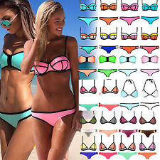 Women Sexy NEOPRENE BIKINI Halter Swimsuit Triangle Superfly Swimwear Beachwear