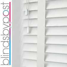 BRILLIANT WHITE WITH TAPES - WOOD VENETIAN BLIND - MADE TO MEASURE - CHILD SAFE