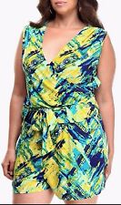 Apple Bottoms Wrap Top Romper Blue Green Belted Bohemian Playsuit Plus Size