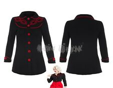 Women's Vintage Rockabilly Black And Red Long Sleeve Shirt Top Goth Punk Emo