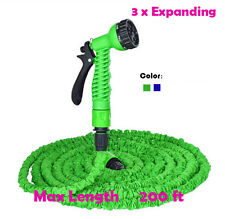 25 - 200 FT Latex 3X Expanding Garden Yard Water Hose Spray Nozzle car washing