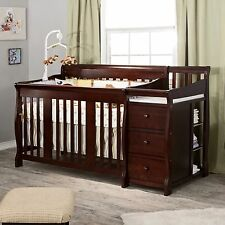 Crib Fixed Side Convertible Changer Baby Set Nursery Toddler Espresso Bed NEW