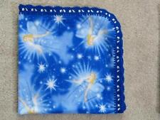 CRADLE/RECEIVING FLEECE BLANKET/HANDCRAFTED - BLUE FAIRIES AND WISHING STARS
