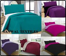 SUPER KING SIZE COMPLETE 4PCS REVERSIBLE DUVET COVER& FITTED SHEET& PILLOW COVER