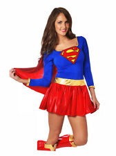 Super Hero Woman Supergirl Super Girl Fancy Dress Costume