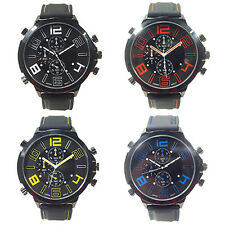 MEN MANLY COOL SUPER LARGE DIAL SPORT QUARTZ STEEL SILICONE BAND WRIST WATCH