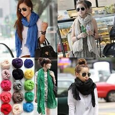 Women's NEW  Pure Candy Long Crinkle Soft Scarf Wrap Voile Wraps Shawl Free ship