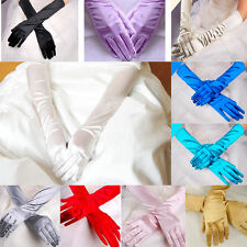 Women Bridal Prom Long Stretch Satin Wedding Evening Party Elbow-length Gloves N