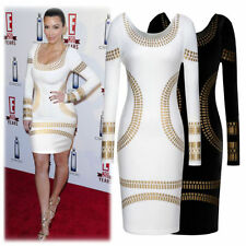 Womens Celebrity Kim Kardashian Foil Print Evening Cocktail Party Bodycon Dress