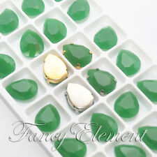 18x13mm 12/24pcs Glass Teardrop Green Jade Crystal Metal Claw Sew On Rhinestones