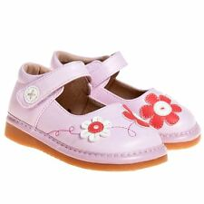 Girls Kids Toddler Childrens Faux Leather Squeaky Shoes - Pink with Flowers