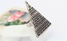 Retro Big Triangle Geometric Egypt Pyramid Ring Adjustable Opening Finger Ring