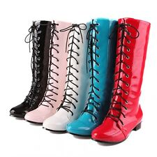 Womens Shiny Patent Leather Plus Size Cosplay Shoes Knee High Low Heel Boots