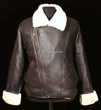 Mens Jacket Aviator Brown Real Shearling Sheepskin Leather Bomber Winter Flying