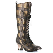 Hades Dome Brown & Bronze Heel Boots - Gothic,Goth,Shoes,Steam