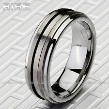 Gift New Men Women Tungsten Silver tune Ring metal wire drawing band A77