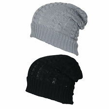 NEW MENS DSIGNER STYLE RETRO FUNKY CABLE KNIT LONG OVERSIZE SLOUCH BEANIE HAT