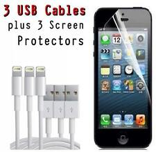 3x USB Lightning Cable Charger for Original Apple iPhone 5 w/ SCREEN PROTECTORS!