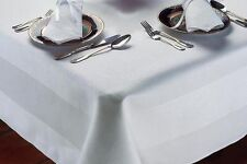White 100% Egyptian Cotton Table cloth - Satin band Damask - Dinner Table Linen