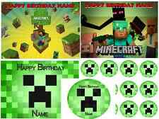 EDIBLE CAKE IMAGE  MINECRAFT  ICING SHEET PARTY TOPPER CUPCAKES DECORATIONS
