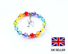 CHILDRENS PERSONALISED RAINBOW INITIAL LETTER CHARM BRACELET - ANY NAME, COLOUR
