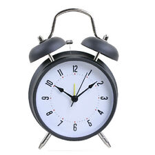"4"" Silent Quartz Analog Twin Bell Alarm Clock with Nightlight and Loud Alarm"