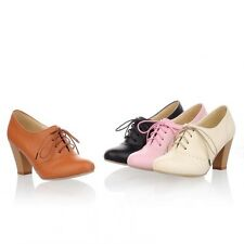 Ladys Spring Autumn Dress Round Toe Lace Up Mid Thick High Heels Oxford Shoes